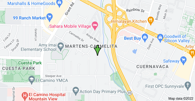 Map of 1991 Sun Mor Ave, Mountain View, CA 94040, USA